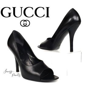 Gucci pump black peep toe high heels black 8.5